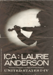 Front cover of programme to UNITED STATES I-IV by Laurie Anderson, London: ICA 1984