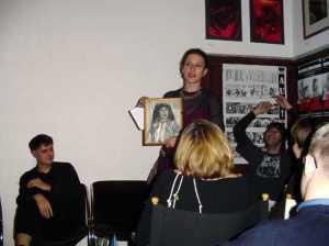 Milena Markovic reading in London, with (L-R, seated at rear Sasa Zograf, Vladimir Arsenijevic)