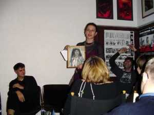 Milena Markovic reading in London, with (L-R, seated at rear Sasa Zograf, Vladimir Arsenijevic)