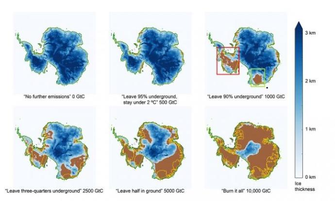 This chart shows how Antarctic ice would be affected by different emissions scenarios. (GtC stands for gigatons of carbon.) Credit: Ken Caldeira and Ricarda Winkelmann.