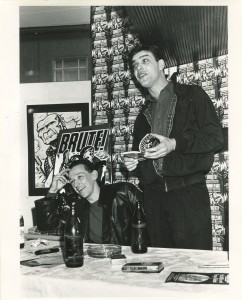 Malcolm Bennett (R), Aidan Hughes (L) at the Brute! launch, Cafe Munchen 1987. Photo: Richard Watt.