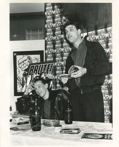 Malcolm Bennett (R), Aidan Hughes (L) at the Brute! launch, Cafe Munchen 1987. Photo: Richard Watt.