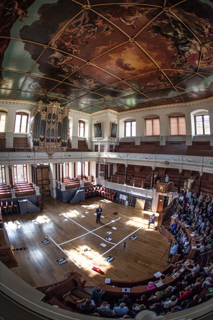 Stephen Peake opening the TippingPoint: Stories of Change conference, Sheldonian Theatre, Oxford. Photo: Gorm Ashurst