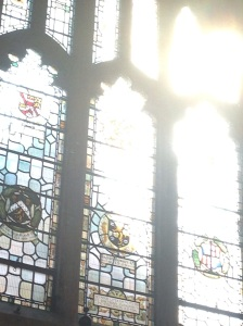 Stained glass in the Hall of Exeter College, Oxford.
